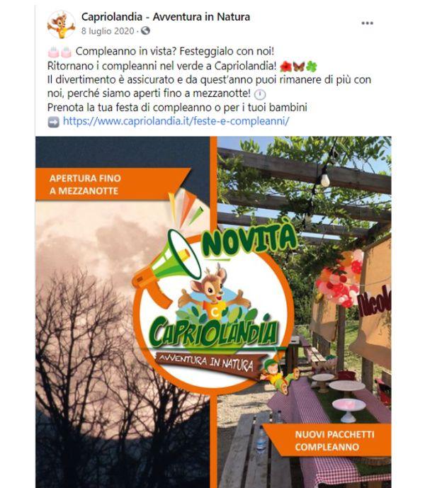 Post Facebook Capriolandia 2