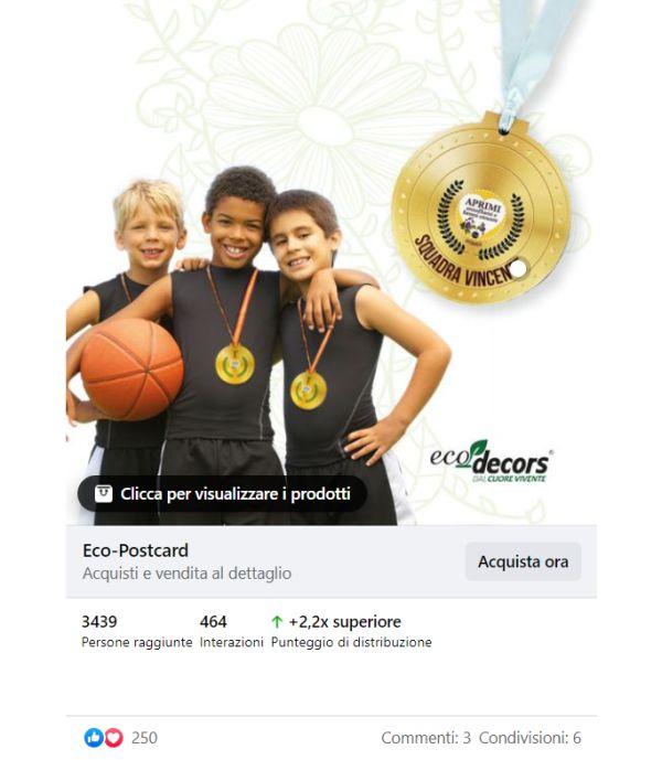 Post eco-postcard medaglie facebook